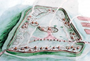 Artists impression of Burrough Hill during the Iron Age.