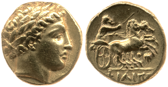 Gold stater of Philip II, showing obverse (front) and reverse.