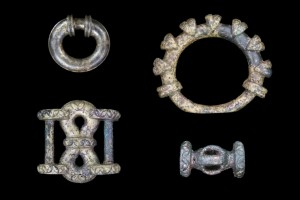 Fittings from an Iron Age chariot. Image copyright University of Leicester