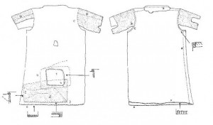 Sketch of the Landbreen tunic with stitching notes.